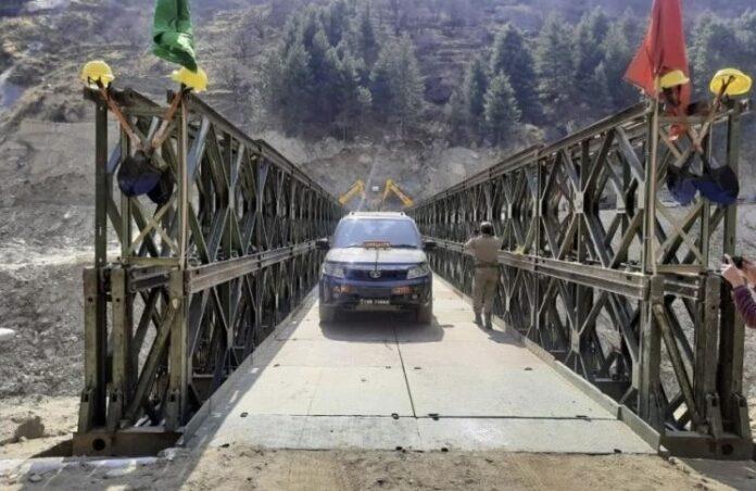 चीन सीमा क्षेत्र में यातायात सुचारु, बीआरओ ने बनाया 200 फुट लम्बा वैली ब्रिज