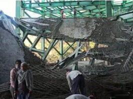 मसूरी में निर्माणाधीन पार्किंग की छत गिरी, टला बड़ा हादसा