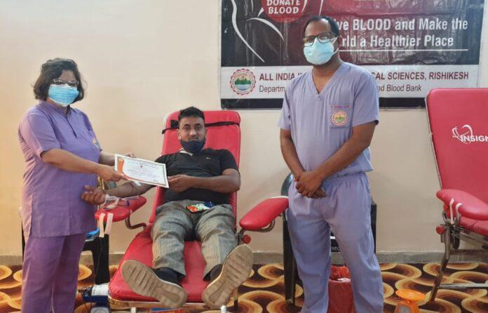 एम्स ऋषिकेश: स्वैच्छिक रक्तदान पखवाड़े का आयोजन