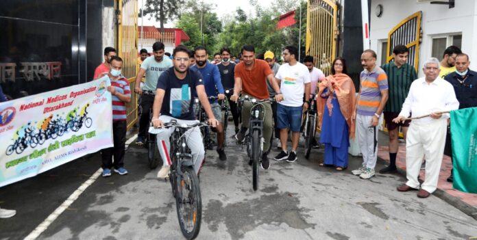 एम्स ऋषिकेश: स्वस्थ जीवनशैली साइकिल यात्रा का आयोजन