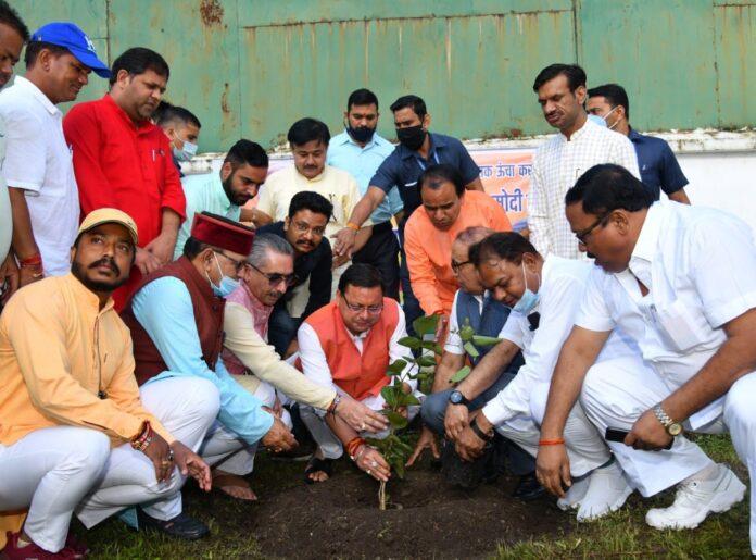 प्रधानमंत्री मोदी के जन्म दिवस पर मुख्यमंत्री धामी ने किया वृक्षारोपण